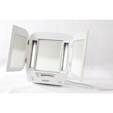 "Euro 12.5"" H x 22"" W Tabletop Dual Sided Tri Fold Lighted Makeup Mirror with Built-In Outlet"