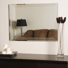 "31.5"" H x 23.6"" W Frameless Tri Bevel Wall Mirror"