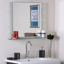 "<strong>Decor Wonderland</strong> 23.6"" H x 31.5"" W Frameless Aydin Wall Mirror with Shelf"