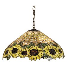 <strong>Meyda Tiffany</strong> Wicker 3 Light Sunflower Pendant