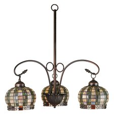 Victorian Jeweled Basket 3 Light Chandelier