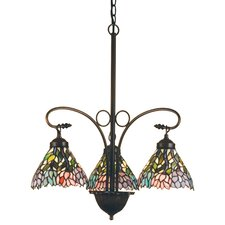 Victorian Tiffany Wisteria 3 Light Chandelier