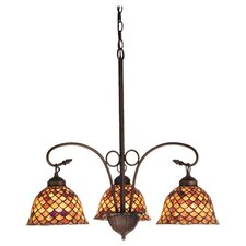 Victorian Tiffany Fishscale 3 Light Chandelier