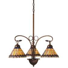 Tiffany Jeweled Peacock 3 Light Chandelier