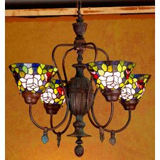 Tiffany Rosebush 4 Light Chandelier