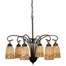 <strong>Meyda Tiffany</strong> 6 Light Victorian Tiffany Acorn Chandelier