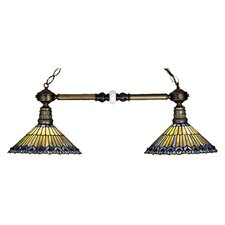 <strong>Meyda Tiffany</strong> Tiffany Jeweled Peacock 2 Light Kitchen Island Pendant