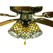 "4"" Tiffany Glass Bell Ceiling Fan Fitter Shade"