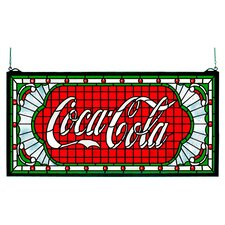 "12"" H Victorian Tiffany Coca-Cola Web Stained Glass Window"