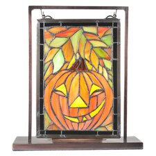 <strong>Meyda Tiffany</strong> Jack O'Lantern Lighted Mini Tabletop Window Table Lamp