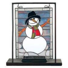 <strong>Meyda Tiffany</strong> Tiffany Snowman Lighted Mini Tabletop Window Table Lamp