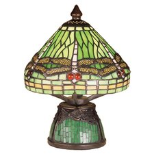 <strong>Meyda Tiffany</strong> Tiffany Dragonfly with Tiffany Mosaic Base Mini Table Lamp
