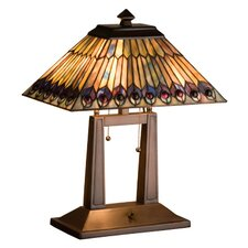 <strong>Meyda Tiffany</strong> Tiffany Jeweled Peacock Oblong Table Lamp