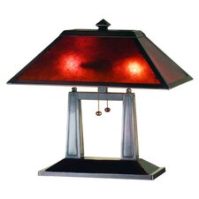 """Van Erp Amber Mica Oblong 20"""" H Table Lamp with Rectangle Shade"""