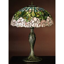 "Tiffany Cabbage Rose 21.5"" H Table Lamp with Bowl Shade"