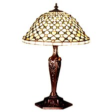 "Victorian Gothic Diamond and Jewel 22"" H Table Lamp with Bowl Shade"