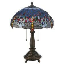 "Tiffany 22"" H Hanginghead Dragonfly Table Lamp"