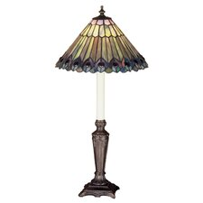 "Tiffany Jeweled Peacock Buffet 23"" H Table Lamp with Bowl Shade"