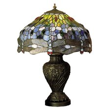 "Tiffany 24"" H Hanginghead Dragonfly Table Lamp"