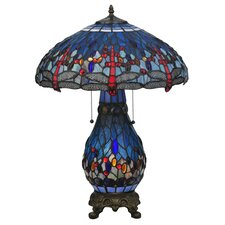 <strong>Meyda Tiffany</strong> Tiffany Hanginghead Dragonfly Lighted Base Table Lamp