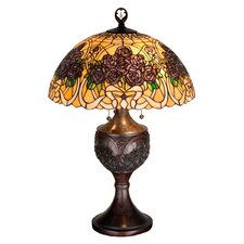 "Rose Bouquet 28"" H Table Lamp with Bowl Shade"
