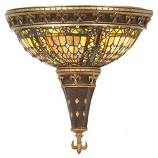 Victorian Tiffany Gothic Fleur-De-Lis 2 Light Wall Sconce