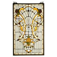 <strong>Meyda Tiffany</strong> Victorian Tiffany Floral Welcome Stained Glass Window