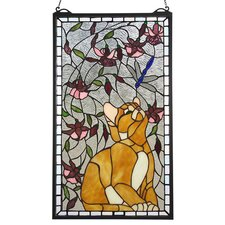 <strong>Meyda Tiffany</strong> Tiffany Floral Insects Kitten and Dragonfly Stained Glass Window