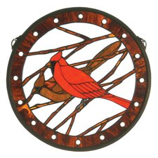 Cardinals Medallion Stained Glass Window
