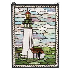 Nautical Yaquina Head Lighthouse Stained Glass Window