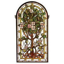 Victorian Tiffany Floral Nouveau Arched Tree of Life Stained Glass Window