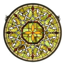 "16"" H Tiffany Gothic Fleuring Medallion Stained Glass Window"