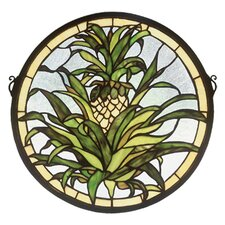 <strong>Meyda Tiffany</strong> Fruit Welcome Pineapple Medallion Stained Glass Window
