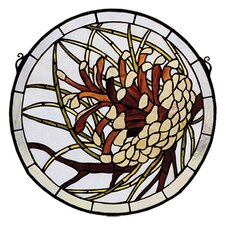 Pinecone Medallion Stained Glass Window