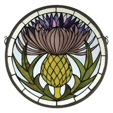 <strong>Meyda Tiffany</strong> Tiffany Floral Thistle Medallion Stained Glass Window