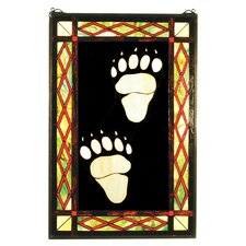 Lodge Tiffany Bear Tracks Stained Glass Window with Cleats and Chains