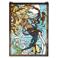 Nautical Mermaid of the Sea Stained Glass Window