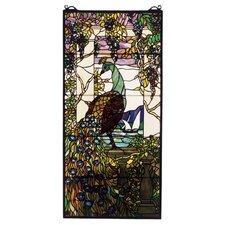 Wisteria Tiffany Peacock Stained Glass Window