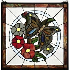 Lodge Floral Insects Butterfly Stained Glass Window
