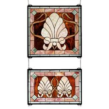 Victorian 2 Pieces Shell and Ribbon Stained Glass Window