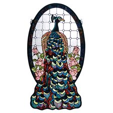 Tiffany Peacock Profile Stained Glass Window