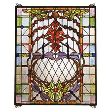 <strong>Meyda Tiffany</strong> Victorian Floral Dragonfly Allure Stained Glass Window