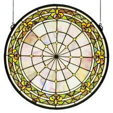 Victorian Fleur-De-Lis Medallion Stained Glass Window