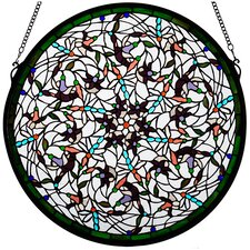 Tiffany Nouveau Insects Dragonfly Swirl Medallion Window in White