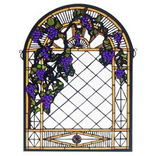 Fruit Grape Diamond Trellis Stained Glass Window