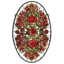 Oval Rose Garden Stained Glass Window