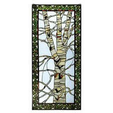 "48"" H Rustic Lodge Tiffany Birch Tree in Winter Stained Glass Window"