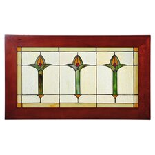 Tiffany Mackintosh Bud Trio Wood Frame Stained Glass Window