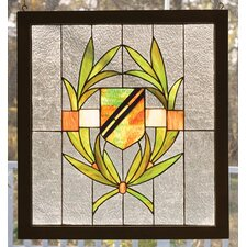 Shield Wood Frame Stained Glass Window