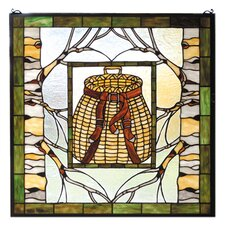 Lodge Country Pack Basket Stained Glass Window